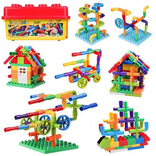 414 Pieces Toy Pipe, Creative STEM Tube Locks Construction with Wheels and Mini Baseplate, Interlocking Educational Sensory Kit, Preschool Learning Toys for Boy and Girls Ages 3+