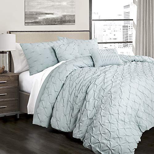 Full/Queen 5pc Ravello Pintuck Comforter Set Blue - Lush Décor