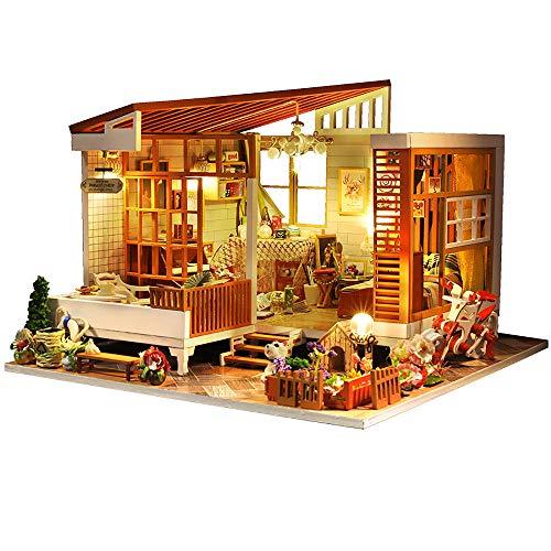moin moin ドールハウス ミニチュア 手作りキット セット お花いっぱいのログハウス | マルチーズ カントリー フラワー レトロ | 中型 | LEDライト + アクリルケース 2006DH159