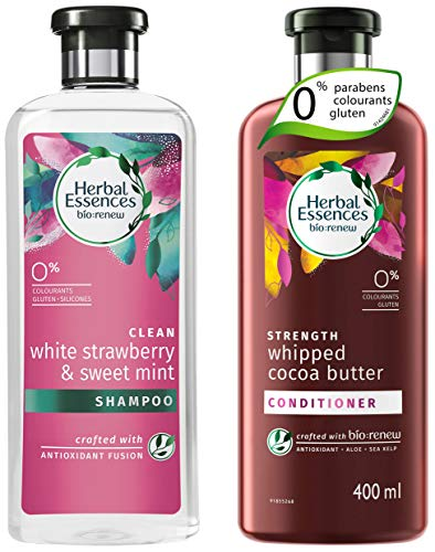 Herbal Essences Bio: Renew White Strawberry And Sweet Mint Shampoo, 400 Ml With Herbal Essences Bio:Renew Whipped Cocoa Butter Conditioner,400 Ml