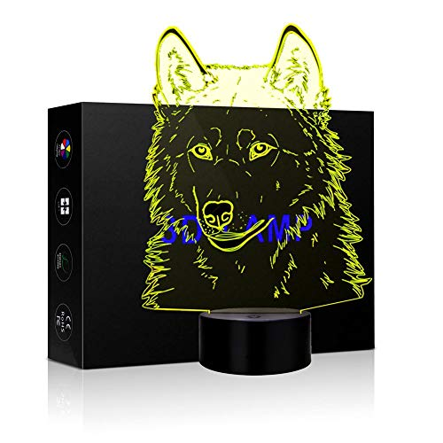 3D Illusion LED Night Lamp Desk Lamp Optical Illusion Visualization LED Night Lights Table Lamp 7 Colors Multicolored USB Power for Living Bed Room Bar Best Gift Toys (Wolf Head)