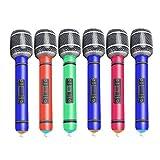 HEALLILY 6 Unids Micrófonos Inflables Juguetes Set Volar Plástico Colorido Micrófono Juguetes para Niños Escenario Fiesta de Cumpleaños de Navidad Favor Juguete Color Aleatorio