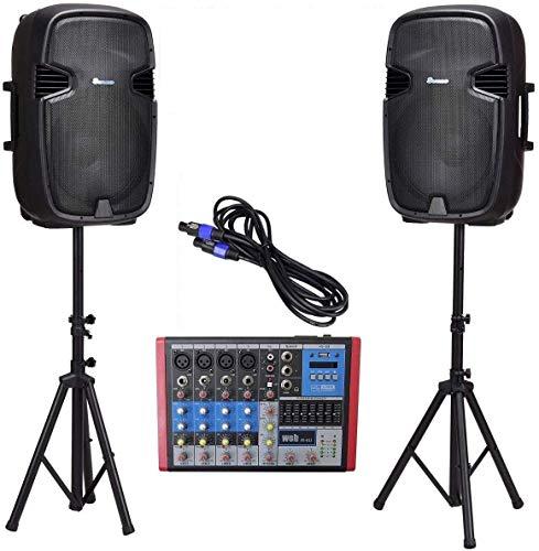 IMPIANTO AUDIO COMPLETO DJ KARAOKE 1700w casse amplificate 15' + 2 stativi LIMITED EDITION + mixer 6 canali bluetooth+ cavetteria