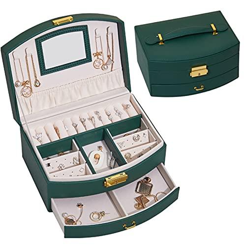 Caja de joyería de Dos Capas de Cuero de PU Organizador de Almacenamiento de Joyas Espejo Incorporado con Cerradura portátil Impermeable para niñas Regalo de Mujer