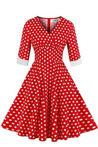 AXOE Damen Elegante Abendkleid 50er Jahre Kleid Gepunktetes Rockabilly mit Aermel Rot Gr.40, L