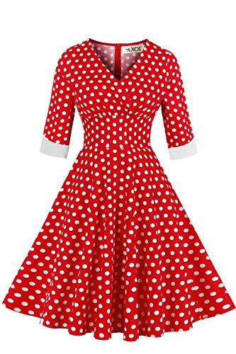 AXOE Damen Elegante Abendkleid 50er Jahre Kleid Gepunktetes Rockabilly mit Aermel Rot Gr.40
