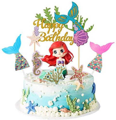 QIMMU kuchendeko Tiere Geburtstag,lefant Zebra Giraffe Krokodil (Mermaid) Meerjungfrau Kuchen Topper,Geburtstag Kuchen Topper,Topper für Sea Party