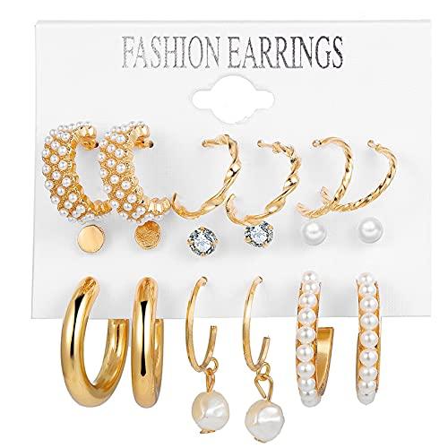 Kudiro Accesorios de joyería Pendientes de perlas Set Pendientes de gota Pendientes redondos o regalos de vacaciones, Accesorios para mujer (Oro)
