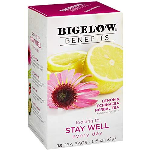 Bigelow Benefits Stay Well Lemon and Echinacea Herbal Tea Bags, 18 Count Box (Pack of 6), Caffeine Free Herbal Tea, 108 Tea Bags Total