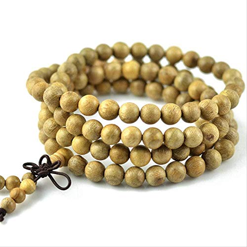 TYWZH Necklace 108 Beads Necklace Bracelets Natural Wood Phoebe Beads Buddha Bracelet for Women and Men