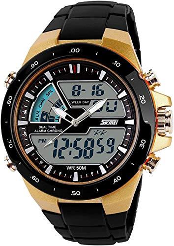 Reloj deportivo casual de hombre resistente al agua analógico y digital con zona de tiempo doble y alarma, luz de fondo y diseño clásico, color dorado