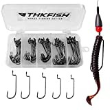 THKFISH 50pcs/Box Offset Hooks with Barbed Shank Worm Hooks Round Bend Replacement Fishing Hooks #2 #1 1/0 2/0 3/0