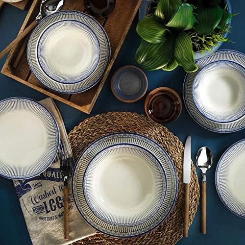 Mitterteich NCHR24Y289028A Set für 6 Personen, bestehend aus 6 Frühstücksteller ø20cm Speisetellern ø 25cm, 6 Tiefentellern ø 20cm und 6 Bowls ø 15cm, Steingut