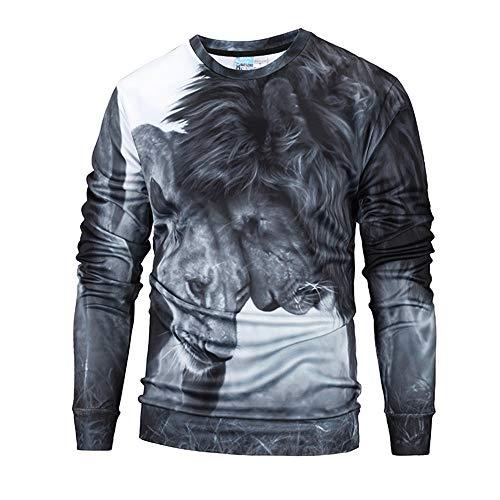 KPILP Herren Mode Herbst Winter Casual 3D Druck Löwe Hip Hop Langarm-Shirt O Hals Zur Seite Fahren Sweatshirt Oben Bluse Outwear(Schwarz, L