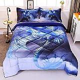 Encoft Dragon 3D Comforter Bedding Sets 3 Pieces,Tencel Cotton Dragon Comforter Sets with 2 Pillowcases (Twin)