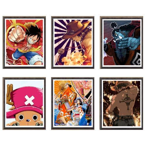 Stampe artistiche su tela a tema anime/manga, in tela, illustrazione originale, motivo: Jinbe, Rufy, Ace, Chopper, One Piece, set da 6, 20 x 25 cm, senza cornice