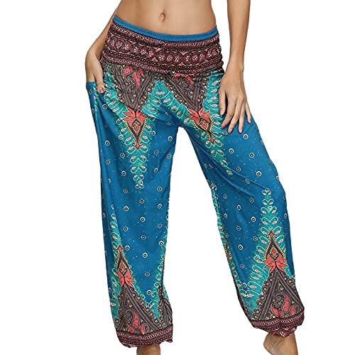 QTJY Pantalones Holgados de Playa cómodos para Mujer Pantalones Hippie gitanos Bohemios Cintura elástica Pantalones Sueltos Casuales de Aladdin B S