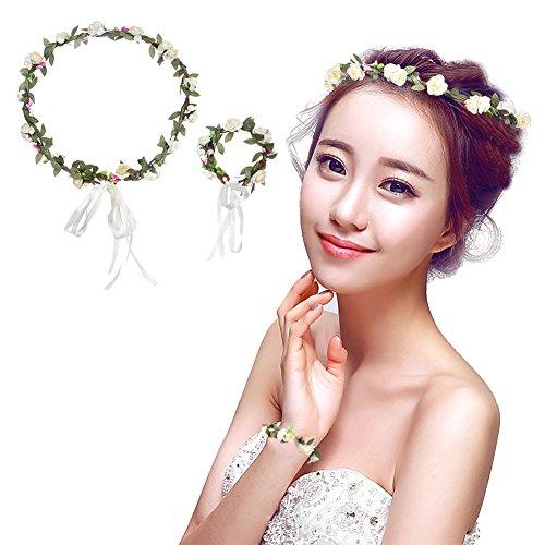 LianLe Fleur Bandeau Couronne de fleurs Couronne de fleurs avec bracelet pour mariage/cadeau pour la fête