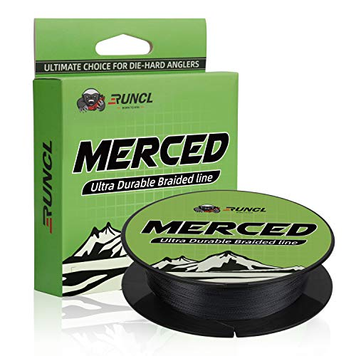 RUNCL Braided Fishing Line Merced, Braided Line X4 - Proprietary Weaving Tech, Thin-Coating Tech, Enhanced Smoothness - Fishing Line for Freshwater/Saltwater (Gray, 30LB(13.6kgs), 300yds)