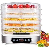 zociko Deshidratador de Alimentos con 5 Bandejas Altura Regulable, Deshidratadora de Frutas y Verduras 500W con Pantalla LCD, Temperatura 35-70°C, Temporizador, Libre BPA