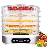 zociko Deshidratador de Alimentos con 5 Bandejas Altura Regulable, Deshidratadora de Frutas y...