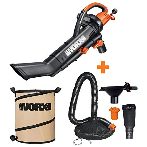 WORX WG505 3-in-1 Blower/Mulcher/Vacuum w/Universal Leaf Collection System & Landscaping 26-Gallon Collapsible Yard Waste Bag