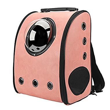 Texsens Innovative Traveler Bubble Backpack Pet Carriers for Cats and Dogs (Pink)