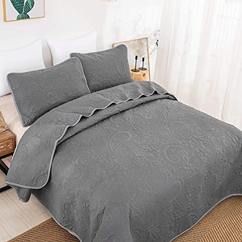 WONGS BEDDING Tagesdecke 240x260 Grau Bettüberwurf Wohndecke Wendedesign Bettdecke gesteppt Quilt aus Mikrofaser mit Ultraschall genäht Steppdecke mit 2 Kissenbezug 50 x 70cm