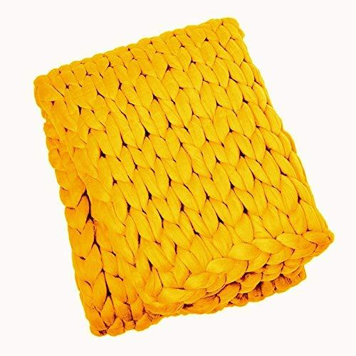 LICHUXIN - Coperta gigante di grandi dimensioni, realizzata a mano, morbida, spessa e spessa, a maglia, ideale come idea regalo, colore: giallo, dimensioni: 150 x 200 cm