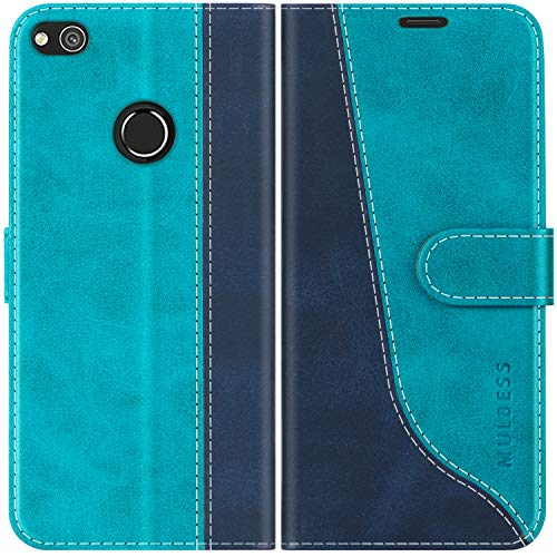 Mulbess Coque pour Huawei P8 Lite 2017, Coque Cuir Huawei P8 Lite 2017, Etui Huawei P8 Lite 2017, Pochette Housse pour Huawei P8 Lite 2017 Protection, Bleu Mint