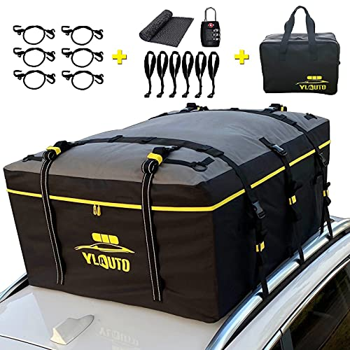 YLAUTO Rooftop Cargo Carrier Bag,21 Cubic Feet,100% Waterproof,Vans Truck Pickup Cargo Carrier Bag with Anti-Slip Mat,Soft Roof Top Luggage Bag Storage Fits All Vehicle with or Without Rack