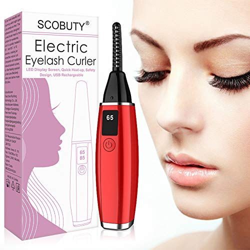Heated Eyelash Curler, Electric Eyelash Curler, Mini USB Rechargeable Lash Curler Tool with LCD Display for Eyelashes Quick Natural Curling and 24 Hours Long Lasting