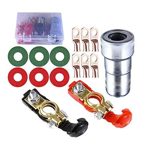 Magent 2 terminales de batería negativos y positivos, conector con 6 abrazaderas de anillo de cobre, terminales de 6 V/12 V para barcos, camiones, coches, furgonetas