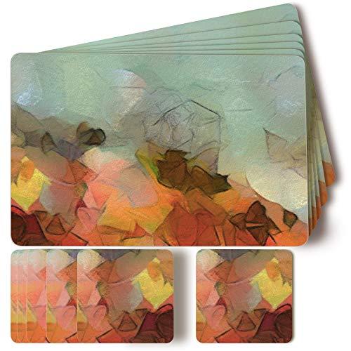Firbon Juego de Manteles Individuales de 6 Manteles Individuales y 6 Posavasos, Manteles Individuales Gruesos de MDF con Soporte de Corcho, Antideslizante Resistente al Calor de 14 x 9 Pulgadas.