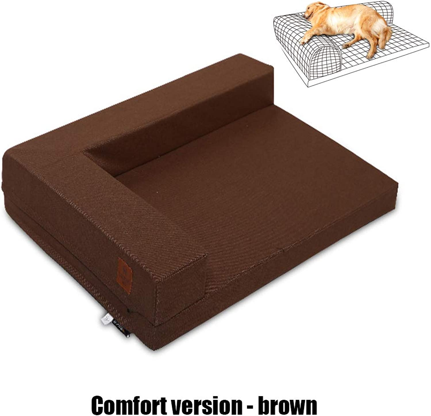 JiMany Pet dog bed, dog and cat sofa bed pillows, summer multicolor style,Comfortversionbrown,L