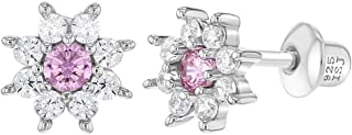 925 Sterling Silver Pink Clear CZ Flower Screw Back Earrings for Girls Toddlers