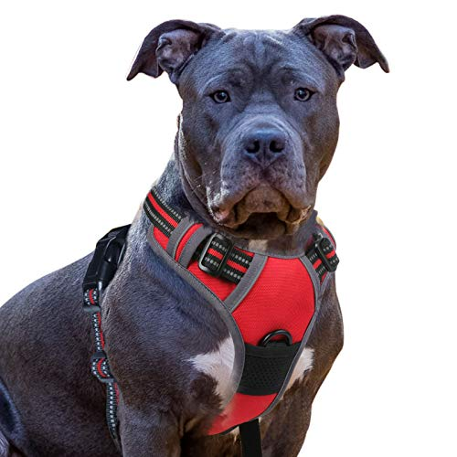 Eagloo Dog Harness No Pull, Walking Pet Harness with 2 Metal Rings and Handle Adjustable Reflective Breathable Oxford Soft Vest Easy Control Front Clip Harness Outdoor for X-Large Dogs Red
