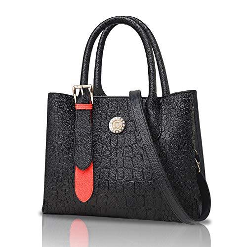 URAQT Ladies Handbag, 2021 New Black Shoulder Bags Messenger Bag for Women, Fashion Top-handle Bag with Premium Crocodile Texture, Pecfect Gift for Women