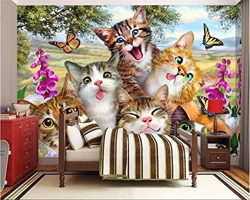 Fotobehang klassieke mode schattige cartoon groep dieren op weide als kinderkamer achtergrond decoratief schilderij 3D behang behang 150 × 105 cm.