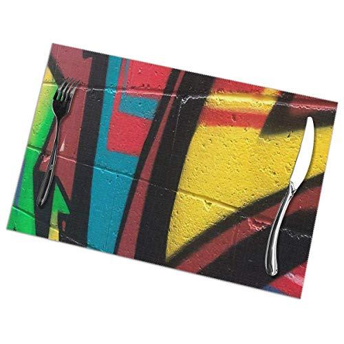 Manteles Individuales Lavables Salvamantele Individuales PVC Arte de Graffiti Callejero6,Antideslizantes Resistente al Calor Juego de 6 para la Mesa de Comedor de Cocina 30x45cm