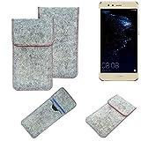 K-S-Trade® Handy Schutz Hülle Für Huawei P10 Lite Dual-SIM Schutzhülle Handyhülle Filztasche Pouch Tasche Hülle Sleeve Filzhülle Hellgrau Roter Rand