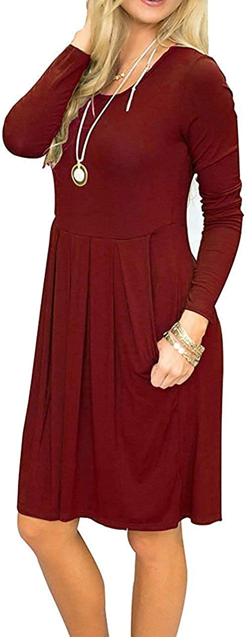 AUSELILY Women's Long Sleeve Pleated Loose Swing Casual Dress with Pockets Knee Length at  Women's Clothing store