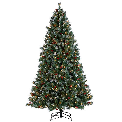 YAHEETECH 7.5ft Pre-lit Snow Dusted Artificial Christmas Tree with Red Berries and 600 UL-Certified Incandescent Warm White Lights and 1365 Branch Tips
