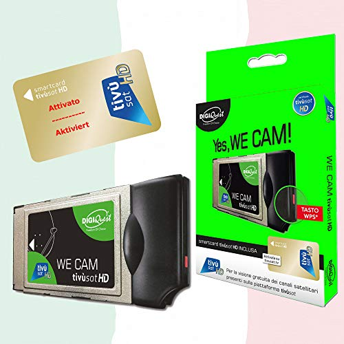 TiVuSat DIGIQuest - Scheda HD Gold e We CAM SmartCam - Modulo HD CI+ WiFi con tasto WPS, inclusa la TiVuSat HD Gold, canali Italiani HD 4K via satellite Eutelsat HotBird 13,0° est