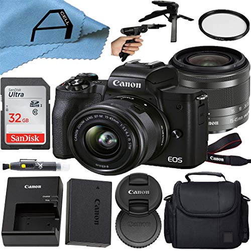 Canon EOS M50 Mark II Mirrorless Digital Camera 24.1MP Sensor with EF-M 15-45mm is STM Zoom Lens, SanDisk 32GB Memory Card, Bag, Tripod and A-Cell Accessory Bundle (Black)