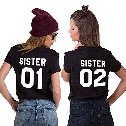 Beste Freunde Best Friends Shirts für Zwei Mädchen Tshirt mit Aufdruck Sister Damen Tops Frau Oberteil Sommer Kurzarm 2 Stücke(Sister 01-bk-XL+Sister 02-bk+S)