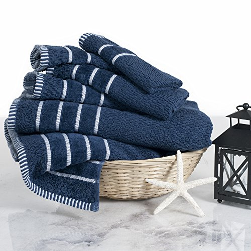Lavish Home Navy Rice Weave 100% Combed Cotton 6 Piece Set with 2 Bath Hand Towels and 2 Washcloths by Castle Point