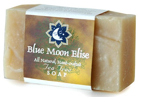 Blue Moon Elise Tea Tree All Natural Bar Soap, Scented with Premium Tea Tree Essential Oils, Made with Organic Ingredients, Handmade in the USA, Moisturizing and Therapeutic for Face/Body, For Sensitive Skin, For Men and Women