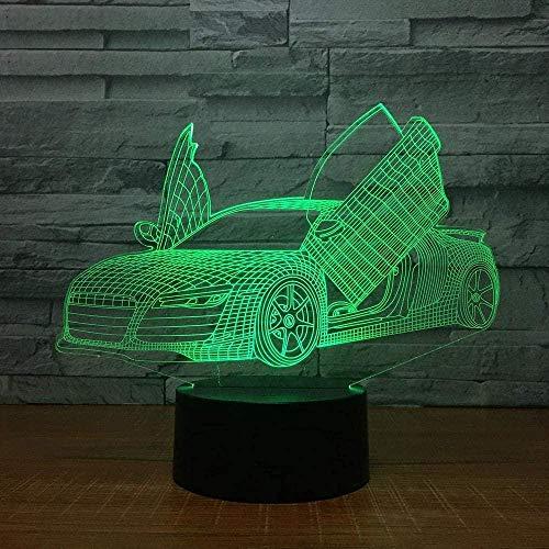 3D-Licht Weihnachtsgeschenke Nachtlicht Schere Tür Supercar Lampe 3D 7 Farben LED Nachtlampen für Kinder Touch Tisch USB-Lampe Nachtlicht zum Schlafen des Schiffs mit Fernbedienung
