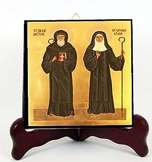 Santa Escolastica Patrona de las Tormentas y su Hermano San Benedicto de Nursia Losa o Altar